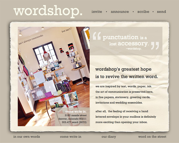 Website for wordshop. in Denver