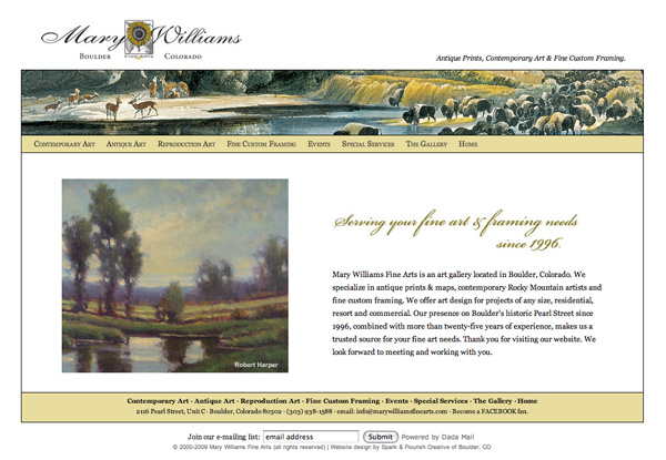 Website Design for Mary Williams Fine Arts