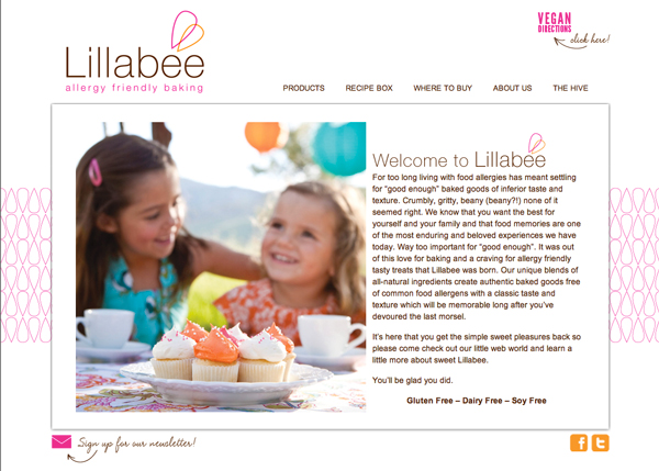 Website design for Lillabee Allergy Friendly Baking