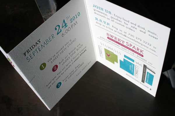 4 color letterpress party invitation