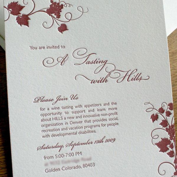 Letterpress Wine Tasting Invite