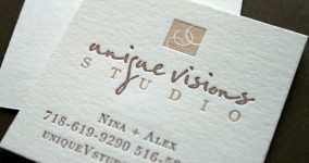 Logo + letterpress business cards for Unique Visions Studio