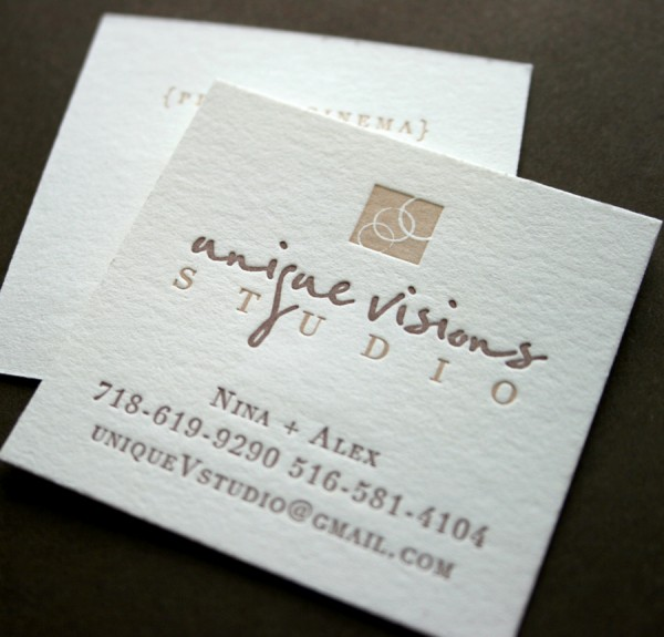 Unique Visions Studio Logo + Letterpress Business Card Design